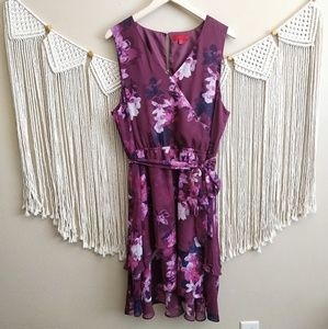 Jennifer Lopez Purple Floral Wrap Midi Dress XL